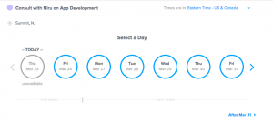 Invitee view of your calendar in Calendly