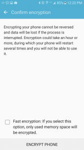 Confirm Encryption page on Android